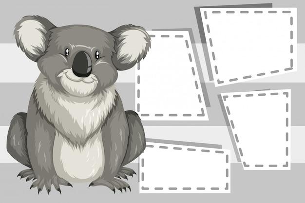 Koala na szablonie notatki