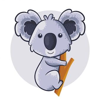 Koala postać z kreskówek. nadruk baby shower ze śliczną koalą