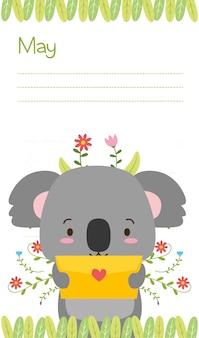 Koala z kartą miłości, uroczymi zwierzętami, mieszkaniem i kreskówkowym stylem, ilustracja