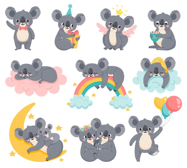 Koale urodziny kreskówka. leniwy koala śpi na chmurze. śliczne australijskie zwierzęta z balonami. niedźwiedź baby shower. dzieci pokój wystrój wektor zestaw. ilustracja dziecko leniwy koala, niedźwiedź na chmurze z tęczą