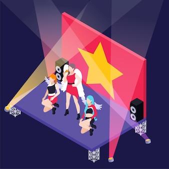 Kobieca grupa k pop na scenie z izometryczną ilustracją reflektorów