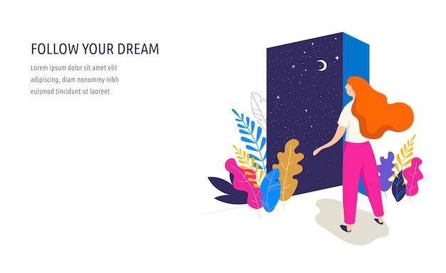 Kobieca ilustracja koncepcja, piękna kobieta otwiera drzwi z widokiem na nocne niebo. postać ozdobiona kwiatami i liśćmi. zestaw projektu wektor płaski