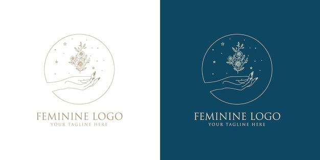 Kobieca kolekcja logo boho z ręcznym kwiatem