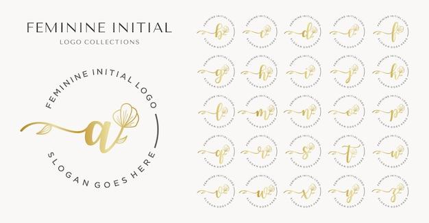 Kobieca kolekcja początkowych logo.