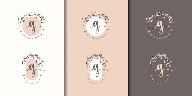 Kobieca litera gz szablon logo kwiatowy ramki