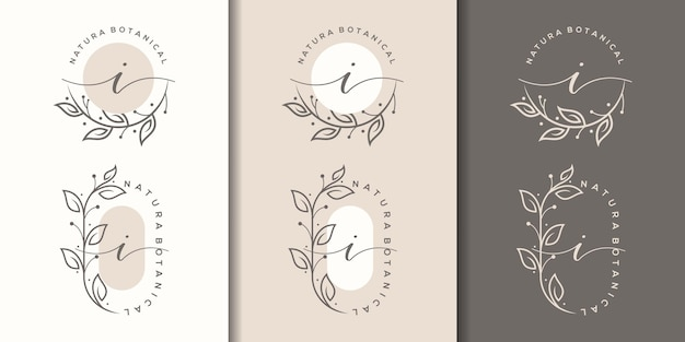 Kobieca litera i z kwiatowym logo w ramce