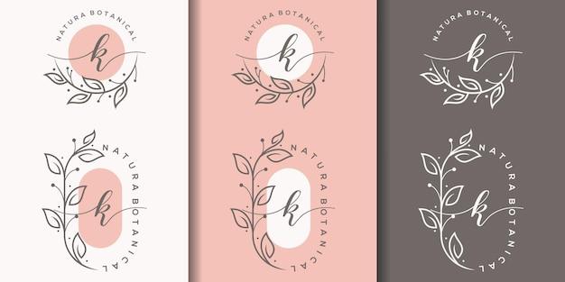 Kobieca litera k z szablonem logo kwiatowy ramki