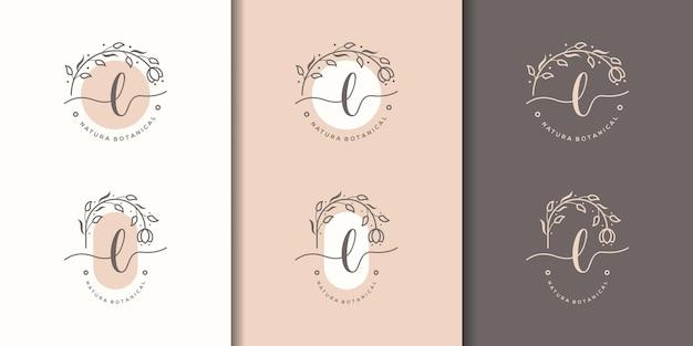 Kobieca litera lz szablonem logo kwiatowy ramki