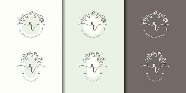Kobieca litera r z szablonem logo kwiatowy ramki