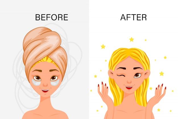 """Kobieca maska kosmetyczna """"przed"""" i """"po"""". styl kreskówkowy. ilustracja."""