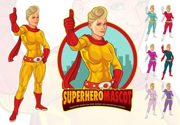 Kobieca maskotka superhero dla firmy