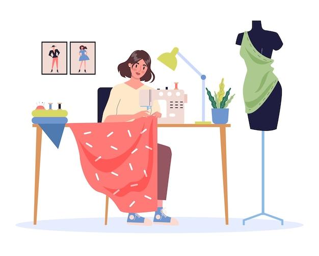 Kobieca moda er w swoim miejscu pracy. młoda kobieta za pomocą maszyny do szycia o mocy. krawiec z manekinem krawcowym.