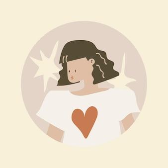 Kobieca okładka wyróżnienia na instagramie, naklejka z postacią kobiety estetyczny wektor ilustracji