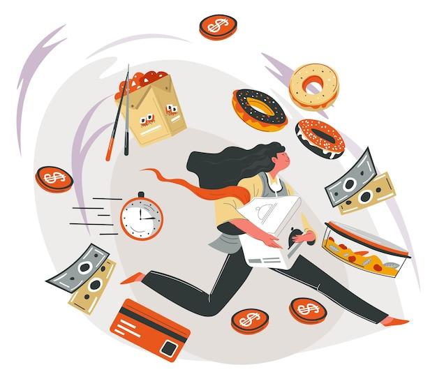 Kobieca postać dostarczająca na czas produkty, dania i desery. pani z pączkami, azjatyckimi orientalnymi przepisami i słodkimi ciasteczkami. płatność gotówką lub kartą. zamawianie i kupowanie jedzenia. wektor w stylu płaskiej