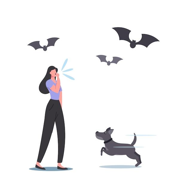 Kobieca postać gwizdka psa podczas spaceru lub treningu na świeżym powietrzu, nietoperze i piesek słuchaj fal o częstotliwości ultradźwięków w przyrodzie, których człowiek nie słyszy. ilustracja wektorowa kreskówka ludzie