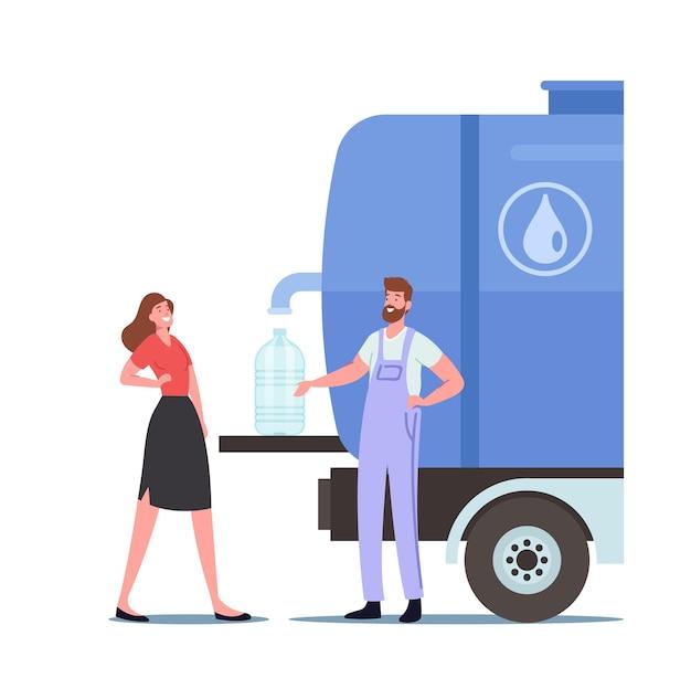 Kobieca postać kupując czystą wodę pitną w odkrytym zbiorniku z kranu. pracownik wlej wodę do plastikowej butelki do klienta. ludzie kupujący świeże aqua na ulicy. ilustracja kreskówka wektor