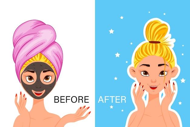 """Kobieca postać """"przed"""" i """"po"""" maseczka kosmetyczna. styl kreskówki."""