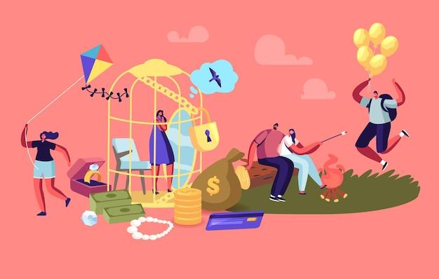 Kobieca postać siedzi w luksusowej złotej klatce marząc o prostych ludzkich rzeczach. kobieta marzy o ucieczce z gold cell. dziewczyna z mężczyzną romantyczne randki, latawiec, balony. ilustracja wektorowa kreskówka ludzie