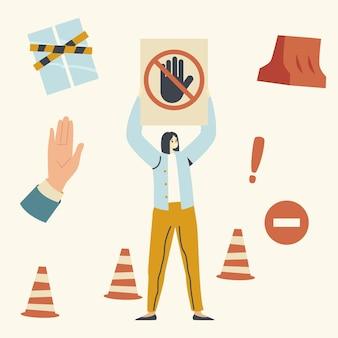 Kobieca postać trzymająca sygnał stopu ze skrzyżowaną ręką, kobieta chroni terytorium zamknięte. problem z parkowaniem samochodu, brak przejścia przez obszar chroniony. stożki drogowe - gestykulowanie dłoni. liniowa ilustracja wektorowa