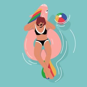 Kobieca postać w strojach kąpielowych, ciesząc się letnimi wakacjami unoszącymi się na nadmuchiwanym materacu w kształcie jednorożca w oceanie lub morzu. ośrodek, lato float relaks w basenie. ilustracja kreskówka wektor