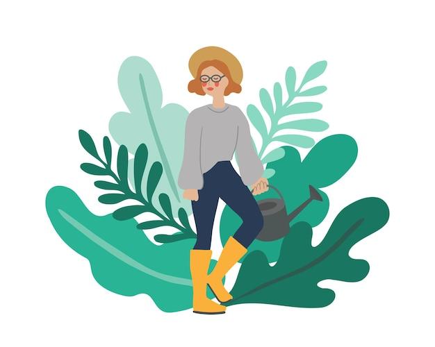 Kobieca postać z konewką przed liśćmi roślin koncepcja ogrodnictwa w pielęgnacji roślin