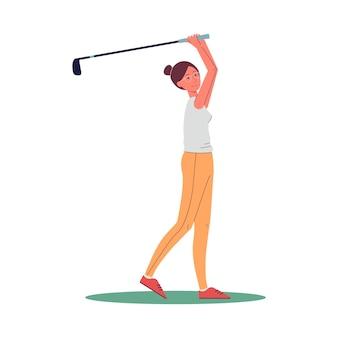 Kobieca postać z kreskówki golfisty huśta się, aby uderzyć płaską wektorową ilustrację na białej powierzchni