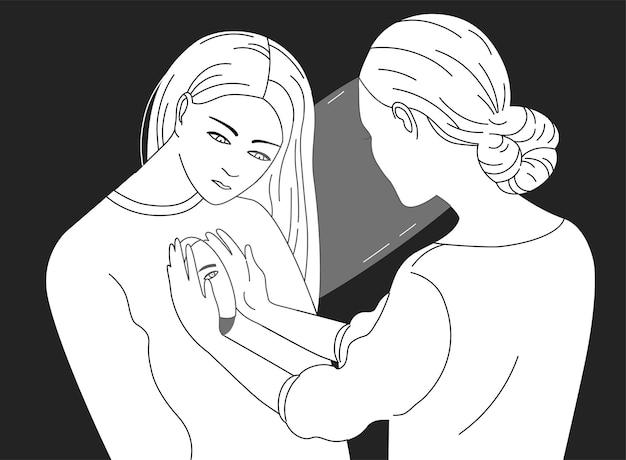 Kobieca postać zaglądająca do wnętrza innej kobiety. pojęcie psychoterapii, psychoanalizy, pracy psychoterapeutycznej, pomocy psychologicznej, opieki psychiatrycznej. ilustracja wektorowa w czarno-białych kolorach.
