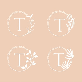 Kobieca rama kwiatowy logo edytowalny szablon do brandingu