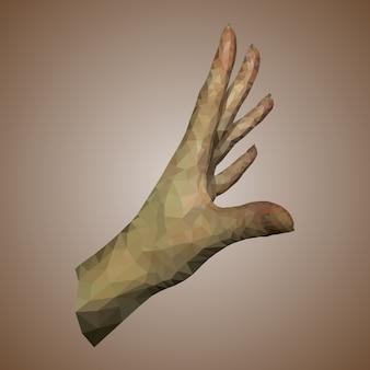 Kobieca realistyczna ręka wielokąta
