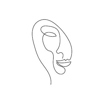 Kobieca sylwetka ciągły rysunek linii jedna linia sztuki abstrakcji tajemniczej czułości