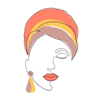 Kobieca twarz w minimalistycznym stylu. sztuka współczesna. twarz kobiety na białym tle.