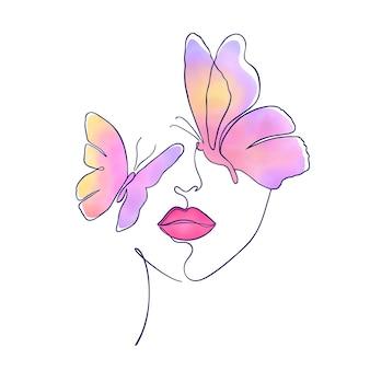 Kobieca twarz z wielokolorowymi motylami w minimalistycznym stylu na białym tle