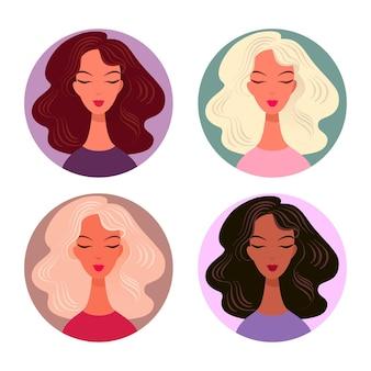 Kobiece awatary z ikonami wektor stylowe fryzury. uśmiechnięte twarze brunetek i blondynki z luksusowymi kręconymi włosami.