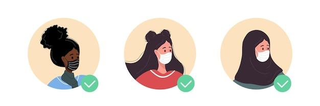 Kobiece awatary z ilustracją maski na twarz