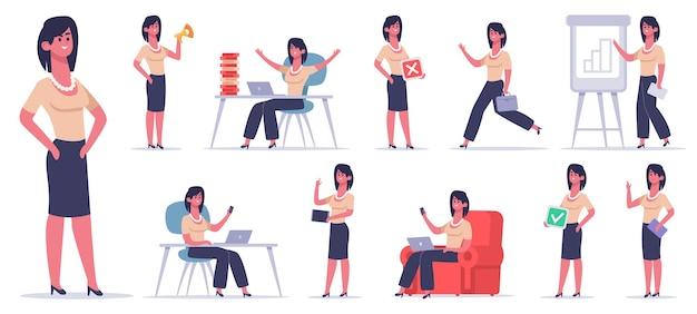 Kobiece biuro charakter. bizneswoman finansista pracownik, profesjonalny pracownik biznesowy, sukces żeński pracownik biurowy zestaw ilustracji. kobieta interesu i osoba płci żeńskiej przy komputerze