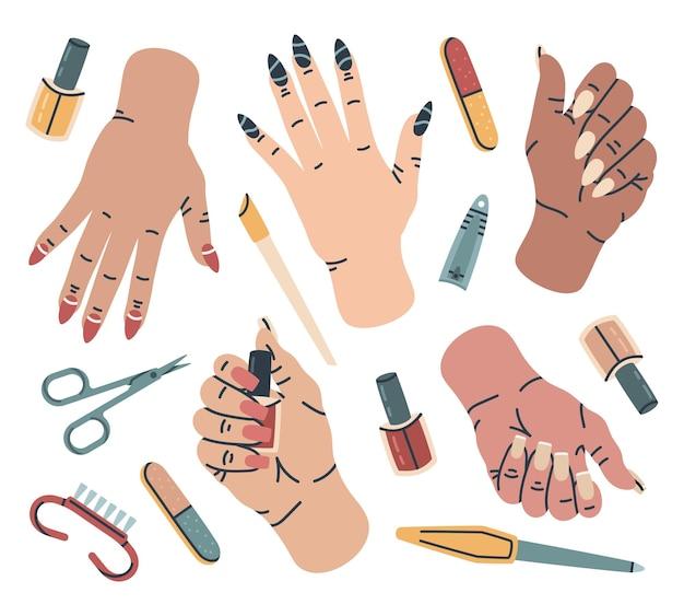 Kobiece dłonie z akcesoriami do manicure pielęgnacja dłoni sprzęt do manicure kreskówka wektor zestaw ilustracji