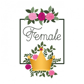Kobiece Etykiety Z Ikonami Ramki Róż Premium Wektorów