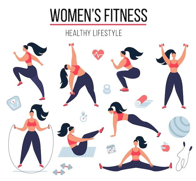 Kobiece fitness kobieta robi ćwiczenia fitness dziewczyna trening gimnastyczny i praktyki jogi