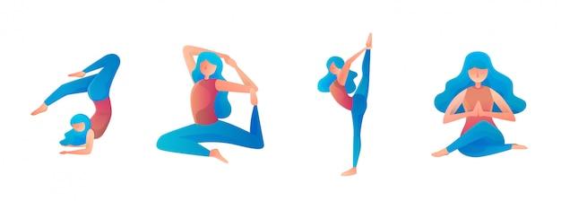 Kobiece joga relaksujący strony internetowej płaski ilustracja