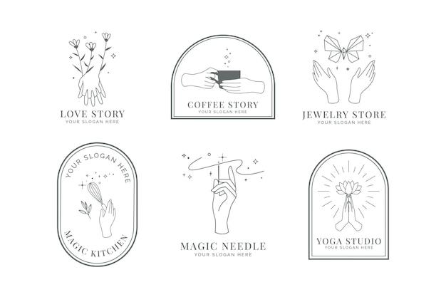 Kobiece logo dłoni z kwiatkiem, motylem, trzepaczką do ciasta, motylem i igłą.