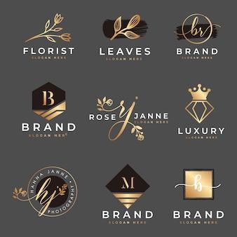 Kobiece logo kolekcji szablon wektor premium