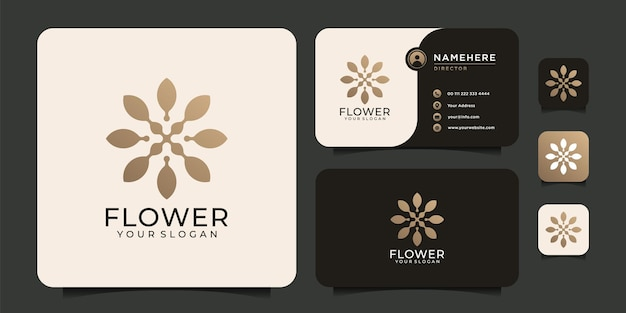 Kobiece logo masażu spa w luksusowym salonie kwiatowym
