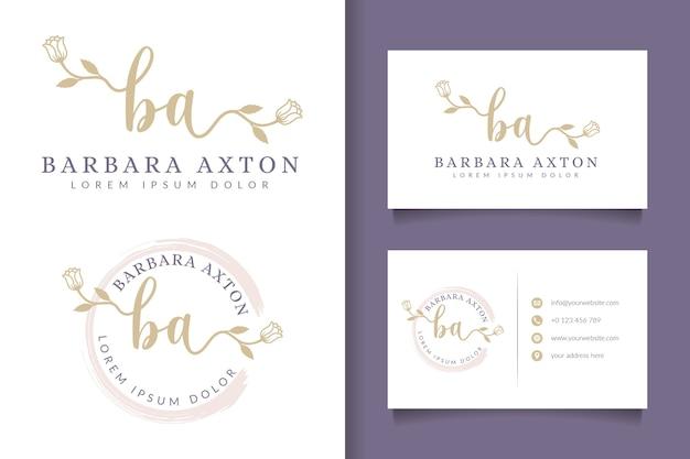 Kobiece logo początkowe ba i szablon wizytówki