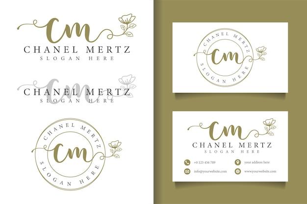 Kobiece logo początkowe cm i szablon wizytówki