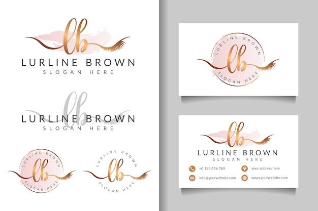 Kobiece logo początkowe lb i szablon wizytówki