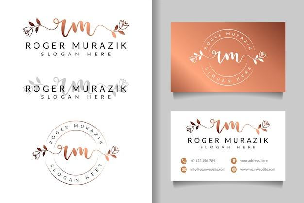 Kobiece logo początkowe rm i szablon wizytówki