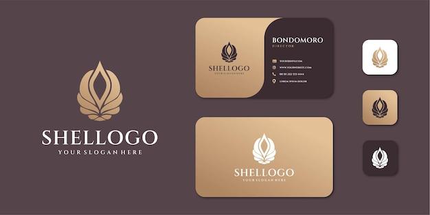 Kobiece luksusowe logo shell sea z wizytówką