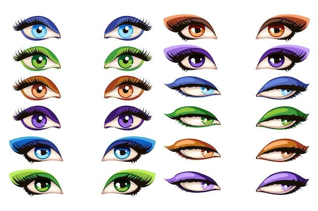 Kobiece oczy. makijaż oczu glamour tusz do rzęs zestaw ilustracji