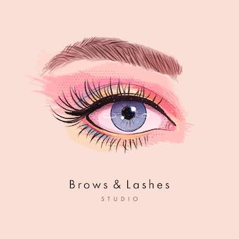 Kobiece oko z długimi czarnymi rzęsami i brwiami