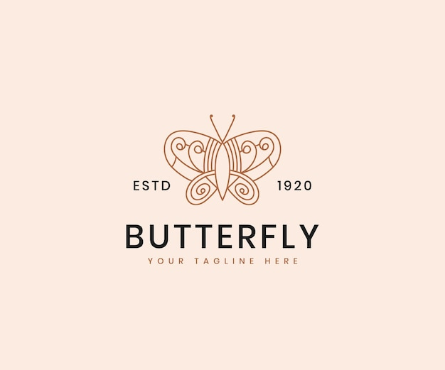 Kobiece piękno butterfly line art elegancki luksusowy szablon projektu logo dla marki kosmetycznej